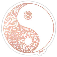 'Rose Gold Yin Yang' Sticker by julieerindesign