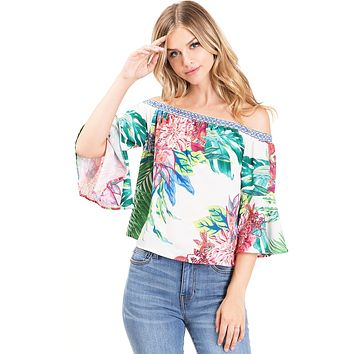 Island Bloom Off Shoulder Blouse