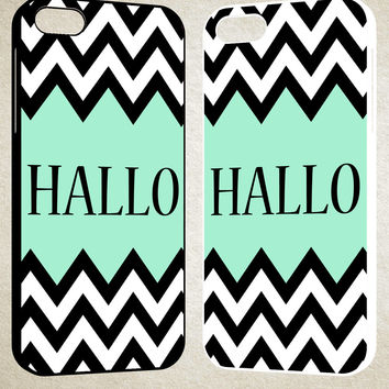 Mint Green Color-Block Chevron Art Hallo F0516 iPhone 4S 5S 5C 6 6Plus, iPod 4 5, LG G2 G3, Sony Z2 Case