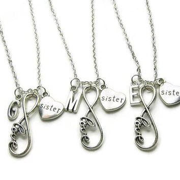 3 Sisters  Necklaces, Sisters Infinity Necklaces, Necklace For Sisters, Infinity Necklace For Sisters, Gift For Sisters, Personalized