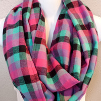 Bright Pink & Aqua Plaid Flannel Infinity Scarf Womens Fall Fashion Plaid Scarves Girls Winter Plaid Circle Scarf Gift for Her Stocking