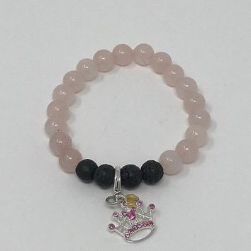 Pink Princess Essential Oil Lava Bead Bracelet with Disney Princess Charm,  Can Purchase a Sample of doTerra for 1.00