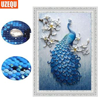 UzeQu Special Shaped Diamond Embroidery Full 5D DIY Diamond Painting Peacock Cross Stitch 3D Diamond Mosaic Painting Home Decor