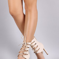 Liliana Corset Lace-Up Open Toe Heels