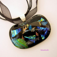 Brilliant Depths Dichroic Glass Kidney Shaped  Pendant Handmade Fused Glass Jewelry by Umeboshi - Multicolored