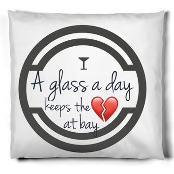 Wine and heart break throw pillow