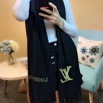 """Louis Vutitton"" Women Simple All-match Fashion Letter Logo Embroidery Tassel Scarf Shawl"