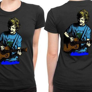 CREYP7V Ed Sheeran Illustrations Sketch Colorize 2 Sided Womens T Shirt