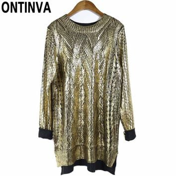 Women Knitted Pullovers Sweaters Sequin Fashion Golden Loose Oversized Womens Jumpers 2018 Mujer Long Sleeve Winter Sweaters