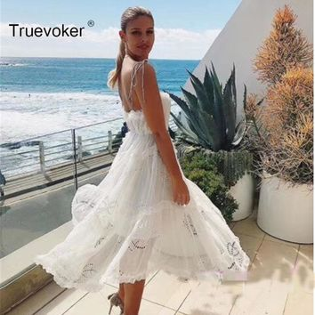 Truevoker Summer Designer Resort Dress Women's High Quality Pure White Embroidery Crochet Irregular Mid Calf Length Strap Dress