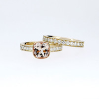 cushion cut morganite engagement ring set made from yellow gold, diamond ring, wedding band, peach morganite ring, solitaire, wedding set