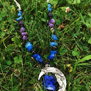 Moon Necklace with blue and purple Gemstones and charm; adjustable chain