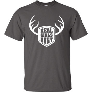Real Girls Hunt RedNeck Funny T-Shirt Tee Shirt TShirt Mens Ladies Womens Youth Shirt Gifts Funny Hunter Hunt Red Neck Hick Tee ML-061