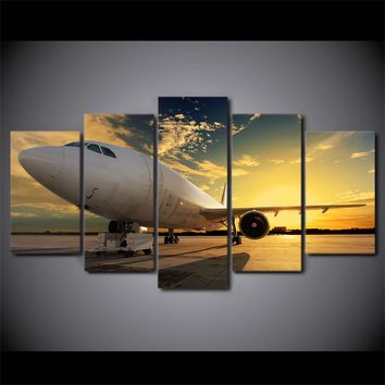 Jet Art Airplane at Sunset 5 Panel Canvas Print Wall Picture for Living Room Home Decor