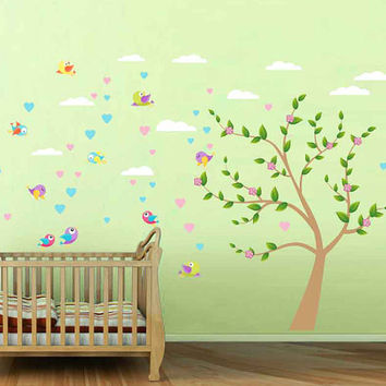Birds wall decals for Nursery clouds wall decal for kids room Tree wall Decals for Nursery kids wall decal kcik1756