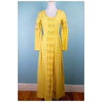 Mr. Boots yellow bell sleeved maxi dress