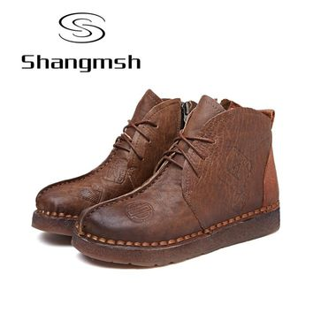 Shangmsh Print Ankle Women Boots Genuine Leather Retro Handmade Shoes Comforable Shoes Footwear Women Flats Plus Size 42 43