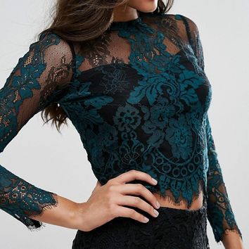 Lipsy High Neck Lace Top at asos.com