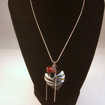 "HEART OF IT - Lampwork Heart Valentine Necklace Black n Red Charms. Suspended from 16""  Sterling Silver  Snake Chain"