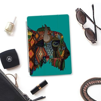 bison teal blue iPad iPad Air cover by Sharon Turner | Casetify