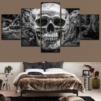 Skull Bone Black White Wall Art Decor 5 Panel Abstract Skull Picture