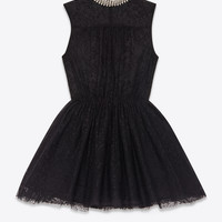 Saint Laurent Skater Dress In Black Lace | ysl.com