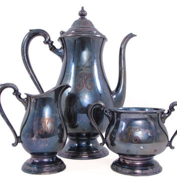 "International Silver 3 Pc. Silver Plate Camille Tarnished Tea Set Sugar Creamer Teapot Monogram ""K"""