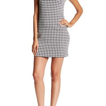 CeCe by Cynthia Steffe | Brynn Sleeveless Houndstooth Shift Dress with Faux Leather Collar | Nordstrom Rack