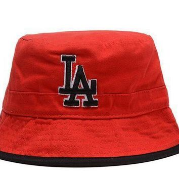 Los Angeles Dodgers Full Leather Bucket Hats Red