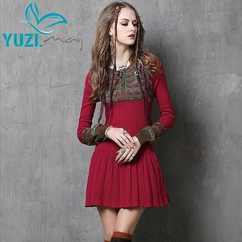 Women Dress Yuzi.may 2017 Vintage New Bodycon Cotton Dresses Long Lantern Sleeve Jacquard Flare Vestidos Femininos A6058 Vestido