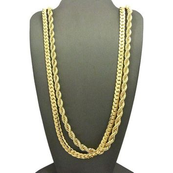 DCCKH7E Men 14K Gold Plated 6mm 30' Rope & 6mm 30' Miami Cuban Link Chain Necklace SN09