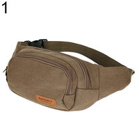2016 New Arrival Canvas Three Zipper Pockets Fanny Pack Chest Waist Bag with Cell Phone Pouch