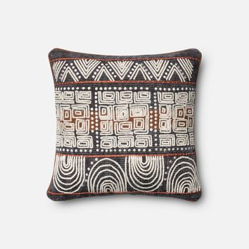 Loloi Blue / Rust Decorative Throw Pillow (P0379)