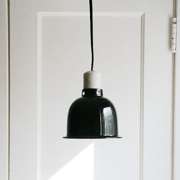 Industrial Chic Pendant Light -Vintage Black Enamel Aluminum Shade Hanging Light Fixture- Wall Plug In - Cord Switch