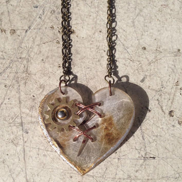 Ex Marks The Heart - Acrylic Laser Cut Broken and Mended Heart Statement Necklace