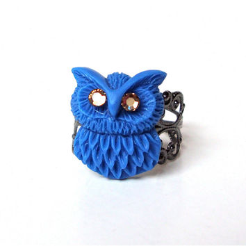 Adorable blue owl ring - small owl ring - funky owl ring with swarovski crystal eyes, filigree gunmetal ring base by Sparkle City Jewelry