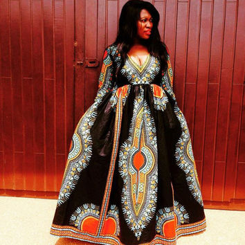 Dashiki Gown/ Dashiki Dress/ African Prom Dress/ Ankara Dress/ African Dress/ African Styles/ African fashion