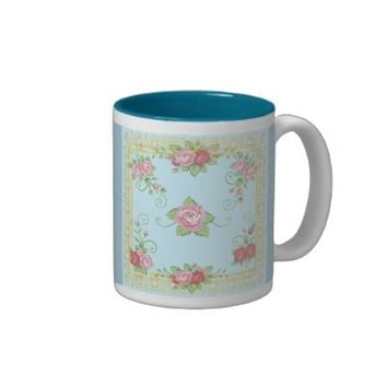 Pretty Old Roses Blue Gold Vintage Tile Pattern Two-Tone Mug