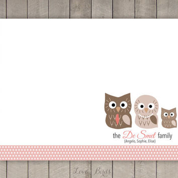 Personalized Owl Family Note Card