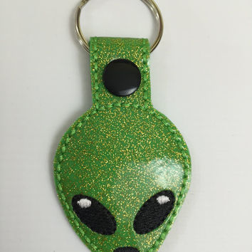Alien Head Keychain - Extraterrestrial keyring - Embroidered Snap Tab