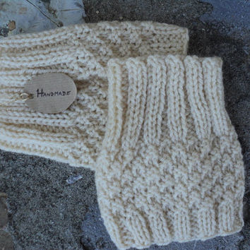 Buttermilk Boot Cuffs, Handmade, Chunky Knitted Boot Cuffs, Legwear, Boot Socks, Knitted Boot Socks, Crochet Socks