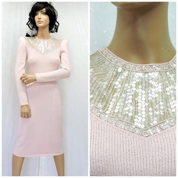 b6abc41f6ad 70s St John knit dress   size S   5   6   pink sequin   beaded s