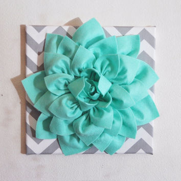 Large Mint Green Flower Wall Hanging -Flower Wall Decor- Chevron Home Decor -NEW COLOR-
