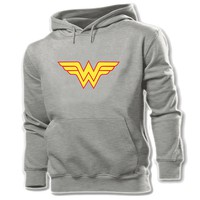 iDzn Women Printed Hoodie Animation Girl Power Wonder Woman Batgirl Supergirl Art Graphic Pullover Casual Girl Sweatshirt Tops