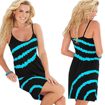 Blue Stripe Pattern Spaghetti Strap Shift Dress