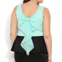 Plus Size Peplum Dress with Daisy Lace Bodice and Bow Back