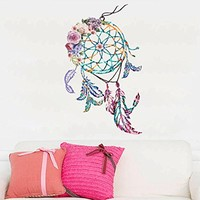 Dream Catcher Feathers Wall Decal Boho Decor Night Symbol Full Color Dreamcatcher Mural Colorful Vinyl Sticker SD16