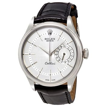 Rolex Cellini Date Silver Dial 18K White Gold Mens Watch 50519SSBKL