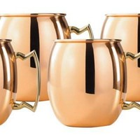 Set of 4 16 Oz Solid Copper Moscow Mule Mug W/B