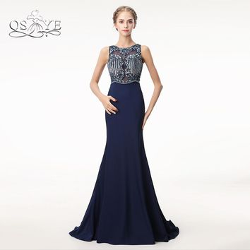 QSYYE 2018 Long Mermaid Prom Dresses Robe de Soiree Beaded Top Open Back Sweep Train Satin Formal Evening Dress Party Gown